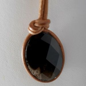 Guess Necklace Tan/Brown Leather Cord Brown Stone